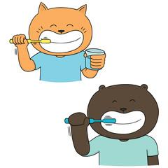 vector set of animal brushing teeth