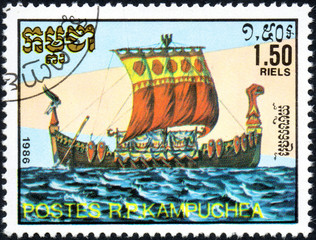 UKRAINE - CIRCA 2017: A postage stamp 1.50R printed in Cambodia shows old sailing ship Viking, series Medieval Ships, circa 1986