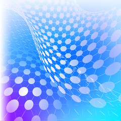 Vector illustration of cyber technology  - perspective grids with circles on blue background