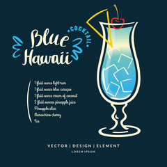 Modern hand drawn lettering label for alcohol cocktail Blue Hawaii.