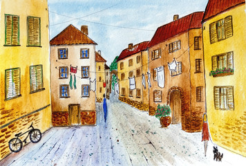 Watercolor painting of the old picturesque town. Urban sketching. Watercolor drawing.