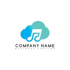 music cloud brand company template logo logotype vector art