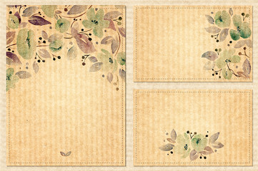 Watercolor set of vintage backgrounds with lovely flowers. Can be used for mothers day, valentines day, birthday cards, wedding invitations.