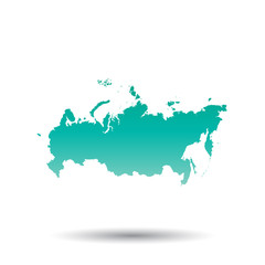 Russia, Russian Federation map. Colorful turquoise vector illustration on white isolated background.