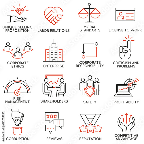 Line Drawing Ethics : Quot vector set of icons related to business ethics