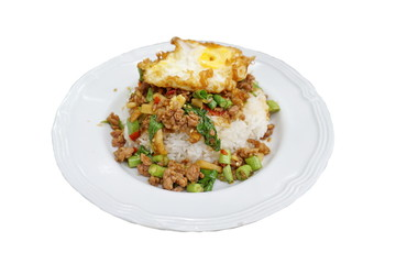 Salted pork with chili & Basil leaves and fried egg