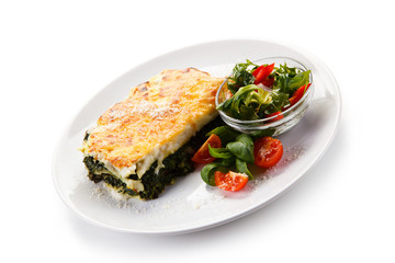 Vegetarian lasagna with spinach