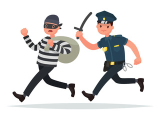 Policeman chasing a thief. The concept of combating crime. Vector illustration