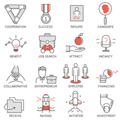 Vector set of flat linear icons related to business management, strategy, career progress and business process. Mono line flat pictograms and infographics design elements - 1