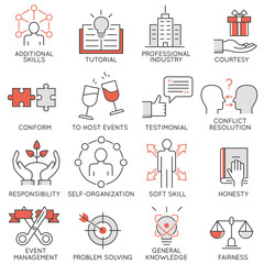 Vector set of flat linear icons related to business management, strategy, career progress and business process. Mono line flat pictograms and infographics design elements - 2