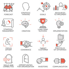 Vector set of flat linear icons related to business management, strategy, career progress and business process. Mono line flat pictograms and infographics design elements - 3
