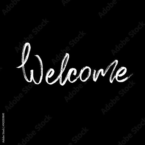 Quot welcome modern brush calligraphy stock image and