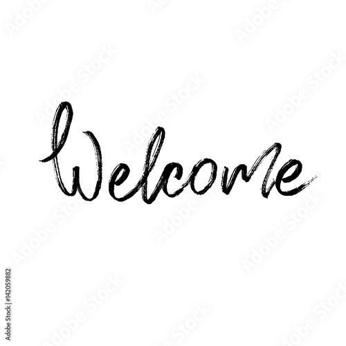 Quot welcome modern brush calligraphy imagens e vetores de