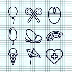 Set of 9 colorful outline icons