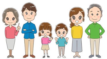 三世代家族のイラスト(全身)