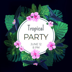Dark vector floral banner template for summer beach party. Tropical flyer with green exotic palms and pink flowers.