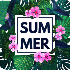Summer hawaiian background with exotic palm leaves and pink flowers. Tropical vector floral template.