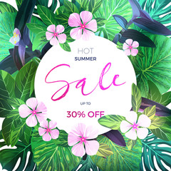 Customizable vector floral design template for summer sale. Tropical flyer with pink exotic flowers and green palm leaves.