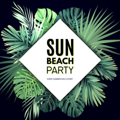 Bright vector floral banner template for summer beach party. Tropical flyer with exotic palm leaves and plants.