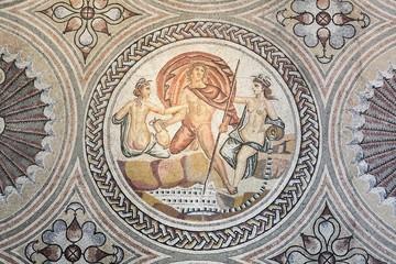 Gallo roman mosaic on a wall in Saint Romain en Gal, France