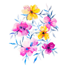 Watercolor flowers illustration. Isolated composition. Good for
