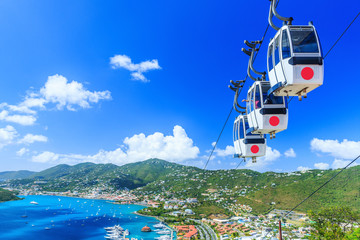 Caribbean, St. Thomas, USVI. Cable car at Heavensight in Charlotte Amelie. Wall mural