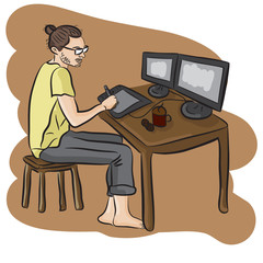 Man sitting at desk and drawing on graphics tablet. Young graphic designer using digital graphics tablet, computer and pen. Vector flat design illustration