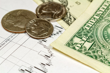 Coins with US dollars banknotes on the background of currency growth schedule