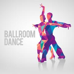 Multicolored polygonal vector silhouette of ballroom dancers