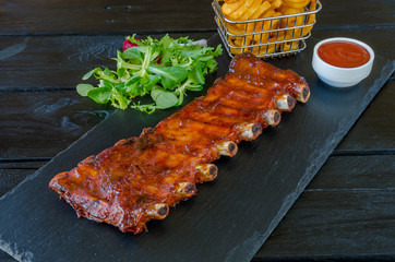BBQ Ribs and Curly Fries