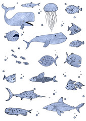 Set of fishes watercolor