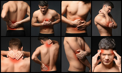 Collage of young man suffering from pain in different parts of body on black background