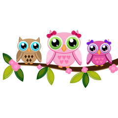 Owl Mom, boy and girl on a branch