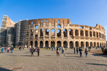 Rome, Italy. Ruins of the Colosseum, view from the outside, 80 AD