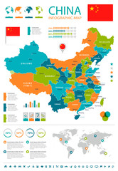 China - map and flag - infographic illustration