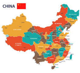 China - map and flag - illustration