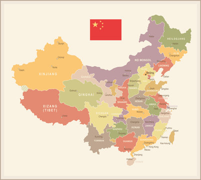 China - vintage map and flag - illustration