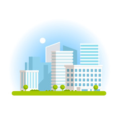 Vector illustration of city landskape icon on white background
