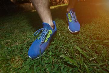 Man waring modern running shoes