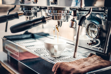 Close up image of professional coffee machine.