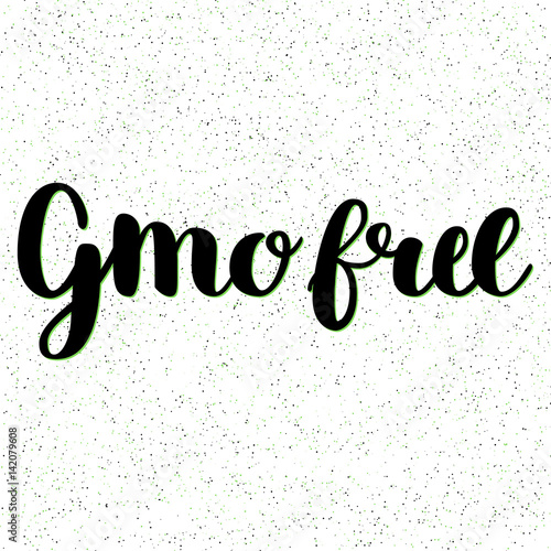 Gmo Free Hand Drawn Logo Label Vector Illustration For