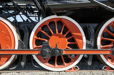 Pistons and driving wheel of the historic steam locomotive.