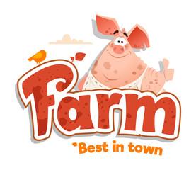 logo sign design template meat shop farm restaurant menu bbq