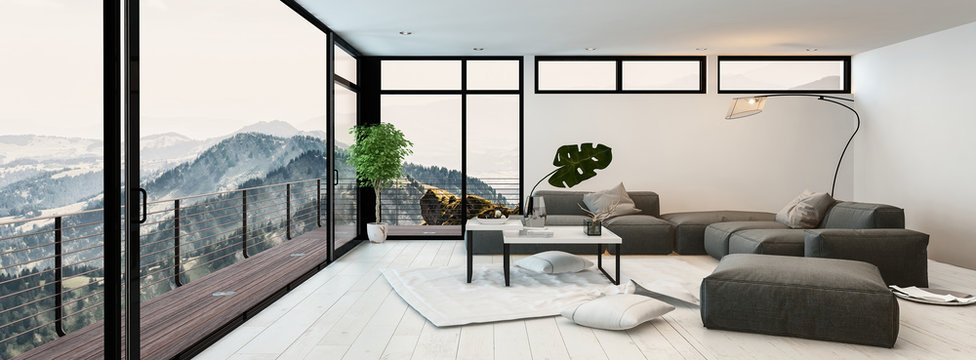 Large modern glass walled living room interior
