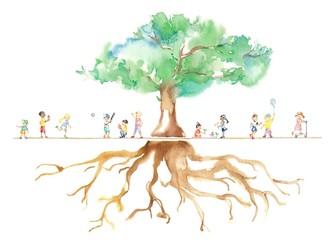 公園の大木、世界の子どもたち、根