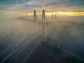 Morning fog. Bridge in a dense fog. St. Petersburg. The bridge in the fog.