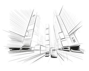 Hand drawn sketch city vector illustration.