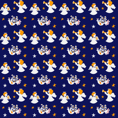 Holiday seamless pattern with angels