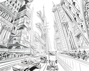 Fantastic city of the future. Concept art illustration. Sketch gaming design. Fantastic vehicles, trees, people. Hand drawn vector painting.