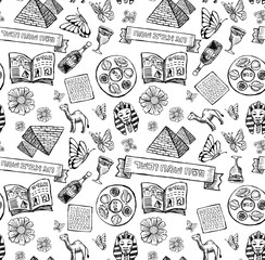 Passover Jewish holiday Pattern in doodle style. Captions in image: Happy and kosher Passover, Happy spring holiday